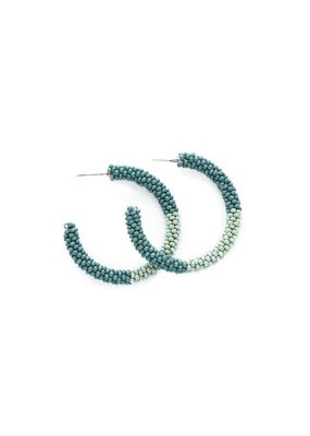 Ink + Alloy Teal Mint Color Block Small Seed Bead Hoop