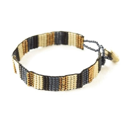 Ink + Alloy Navy Black Ivory Gold Friendship Bracelet