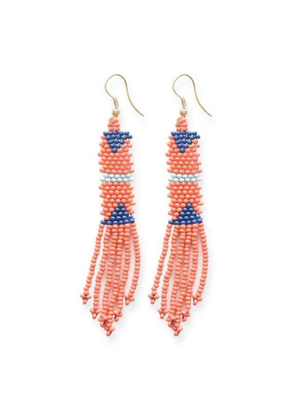 Ink + Alloy Coral Petite Fringe Seed Bead Earrings