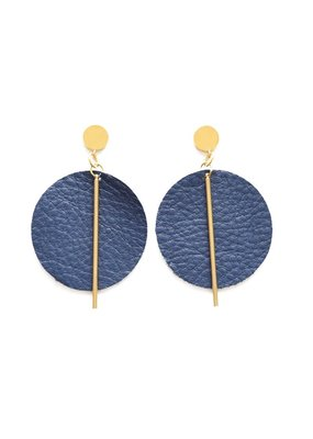 Ink + Alloy Indigo Leather Circle Earrings
