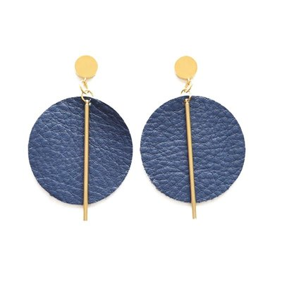 Ink + Alloy Indigo Leather Circle with Brass Post Earrings