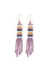 Ink + Alloy Lilac Stripe Petite Fringe Seed Bead Earrings