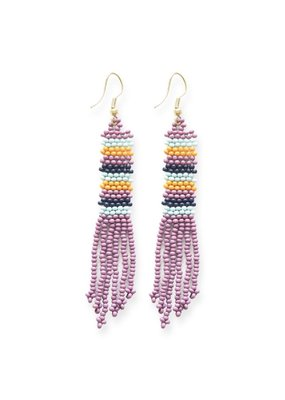 Ink + Alloy Lilac Stripe Petite Fringe Seed Bead Earrings