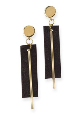 Ink + Alloy Black Leather Rectangle with Brass Post Earrings