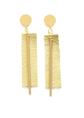 Ink + Alloy Citron Leather Rectangle with Brass Post Earrings