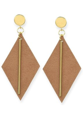 Ink + Alloy Camel Leather Diamond with Brass Post Earrings