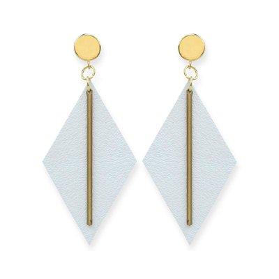 Ink + Alloy Pearl White Leather Diamond with Brass Post Earrings