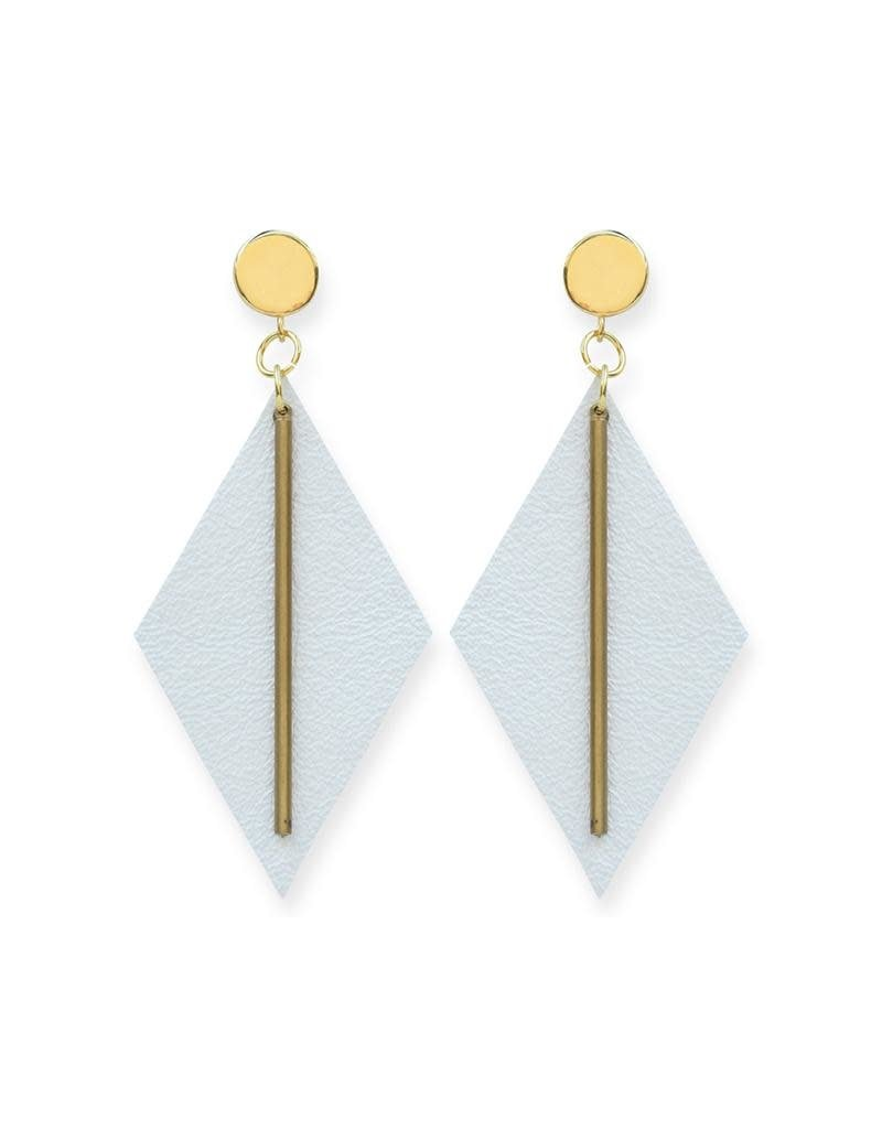 Ink + Alloy Pearl White Leather Diamond Earrings
