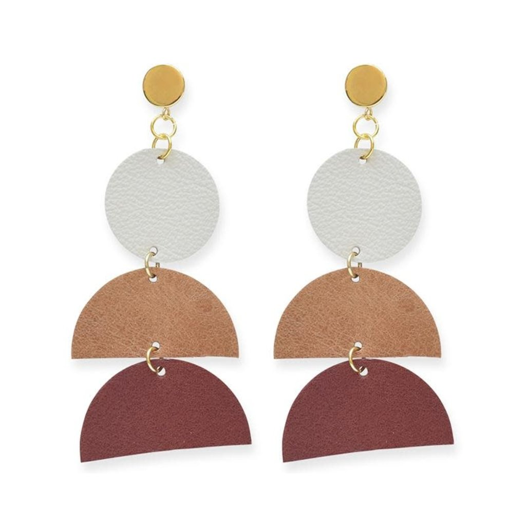 Ink + Alloy Earth Ombre Leather Half-Circle with Brass Post Earrings
