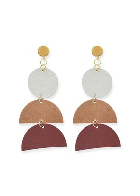 Ink + Alloy Earth Ombre Leather Half-Circle Earrings