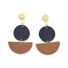 Ink + Alloy Black Circle & Camel Half Circle Leather with Brass Post Earrings