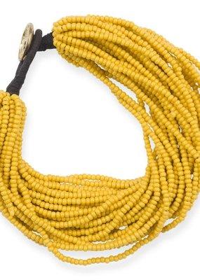 Ink + Alloy Mustard Yellow Seed Bead Multi-Layer Bracelet