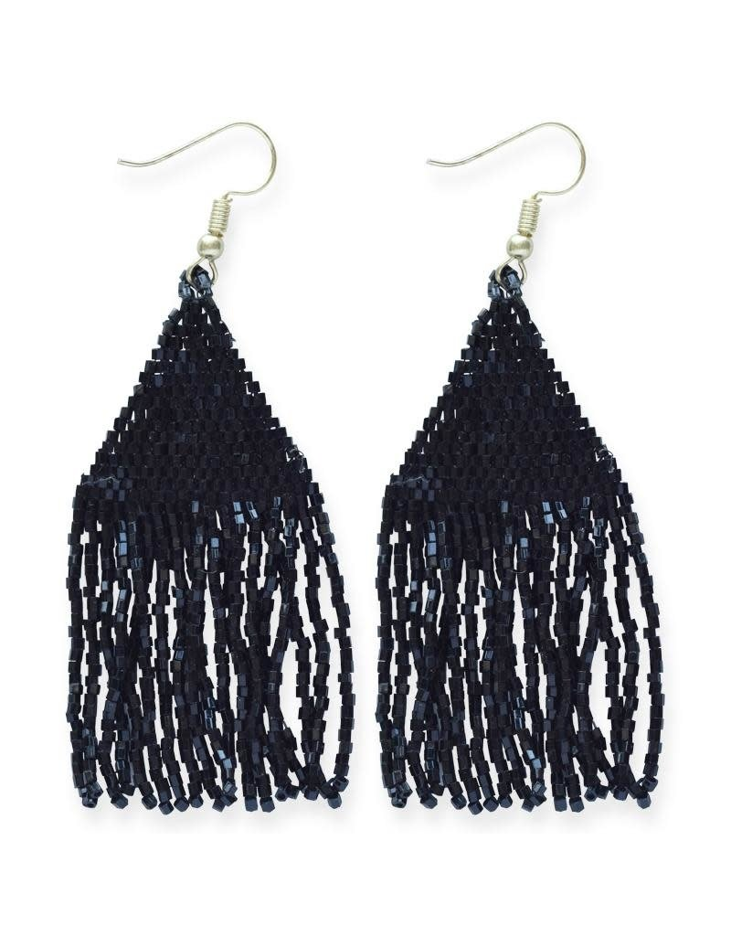 Ink + Alloy Metallic Black Luxe Petite Fringe Earring