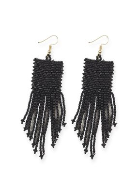 Ink + Alloy Black Seed Bead Earrings with Fringe