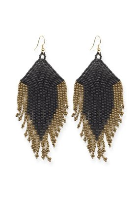 Ink + Alloy Black and Gold Fringe Earrings with Drop