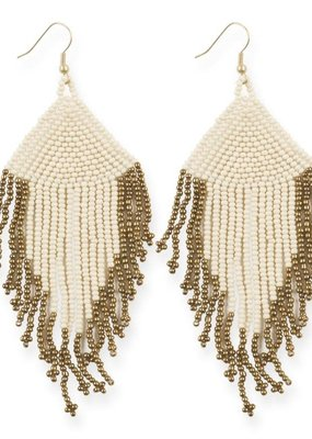 Ink + Alloy Ivory and Gold Fringe Earrings with Drop