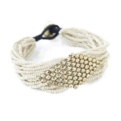 Ink + Alloy Ivory With Gold Diamond Seed Bead Bracelet