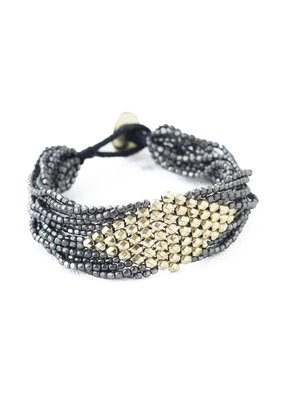 Ink + Alloy Gunmetal  With Gold Diamond Seed Bead Bracelet