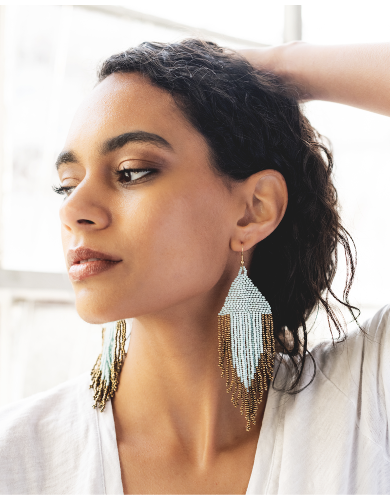 Ink + Alloy Port and Gold Fringe Earrings with Drop