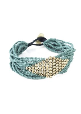 Ink + Alloy Teal With Gold Diamond Seed Bead Bracelet