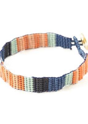 Ink + Alloy Lapis Stripe Petite Seed Bead Bracelet