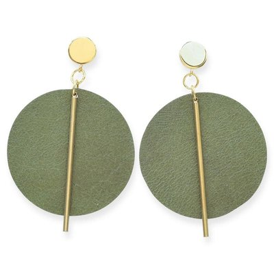 Ink + Alloy Olive Leather Circle with Brass Post Earrings