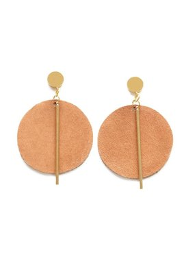 Ink + Alloy Camel Leather Circle Earrings