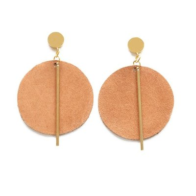 Ink + Alloy Camel Leather Circle with Brass Post Earrings