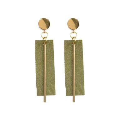 Ink + Alloy Olive Leather Rectangle with Brass Post Earrings