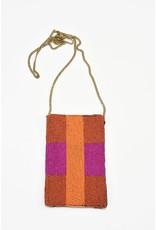 Ink + Alloy Orange Stripes with Magenta Stripe Seed Bead Cross Body Bag