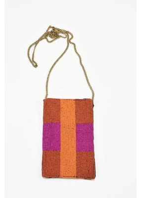 Ink + Alloy Orange Stripes with Magenta Stripe Seed Bead Cross Body Bag