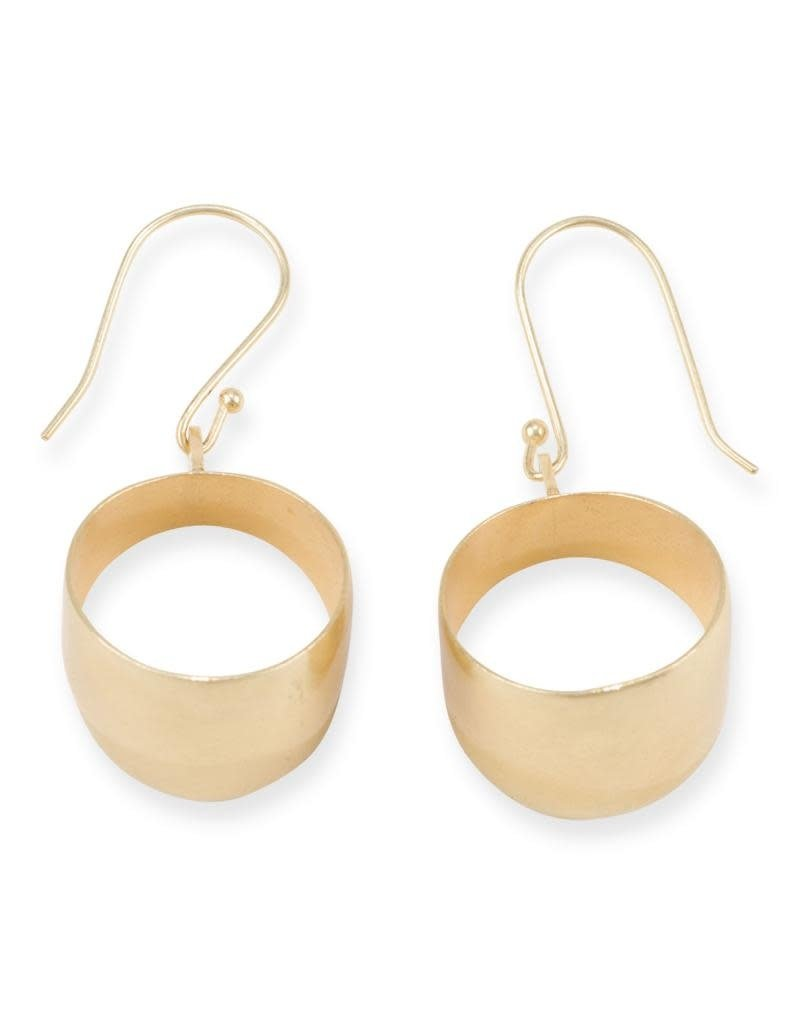 Ink + Alloy Thick Dangle Hoop Brass Earring