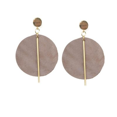Ink + Alloy Purple Leather Circle with Brass Post Earrings
