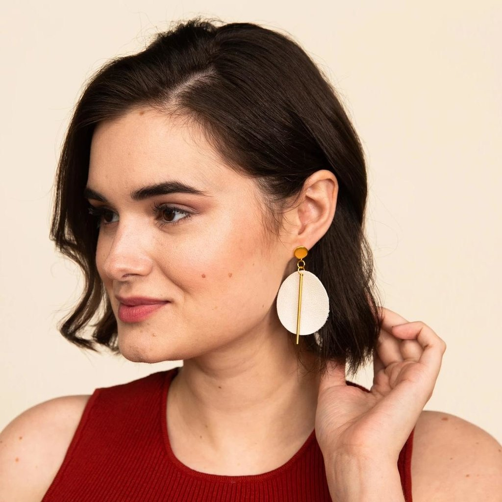 Ink + Alloy Citron Leather Circle with Brass Post Earrings