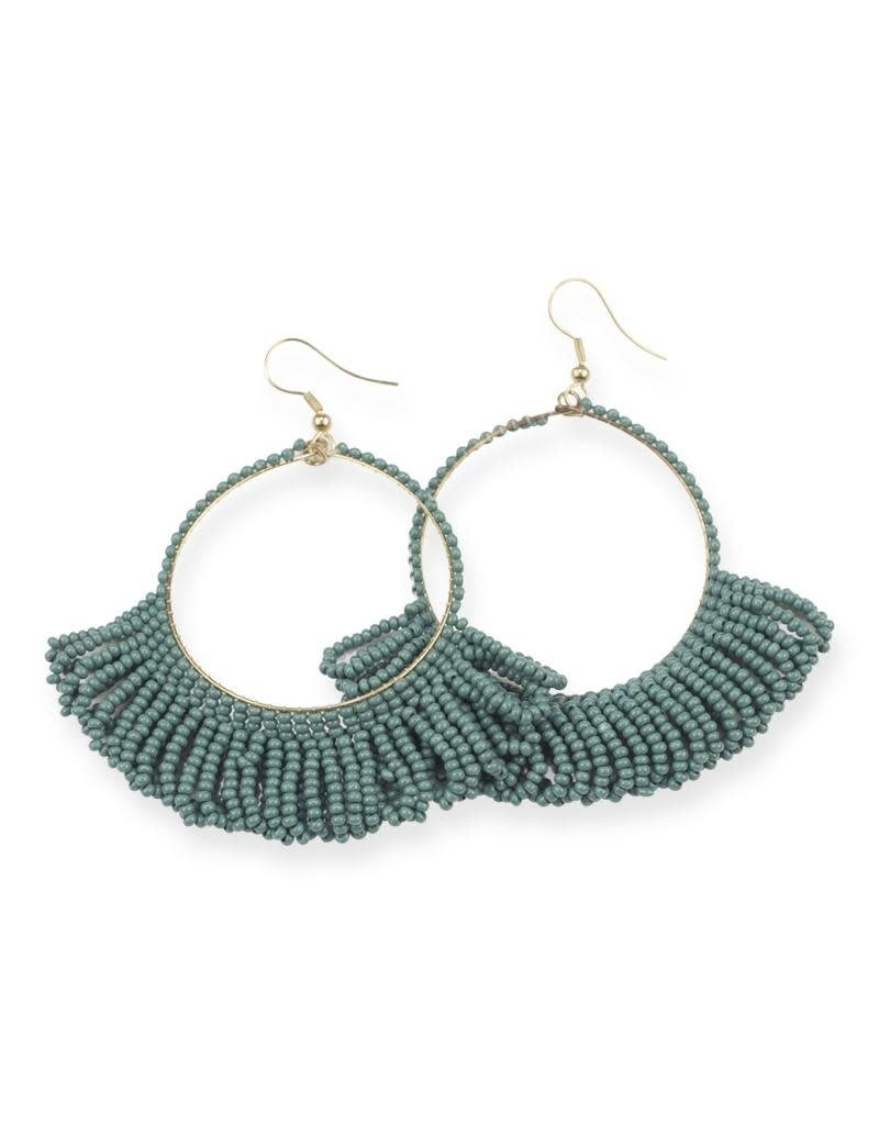 Ink + Alloy Teal Fringe Hoop Seed Bead Earrings
