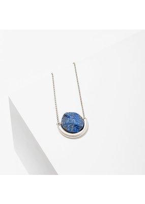 Larissa Loden Lapis Sun & Moon Silver Necklace