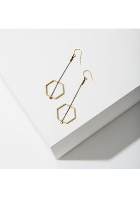 Larissa Loden Brass Threaded Horizon Hexagon Earrings