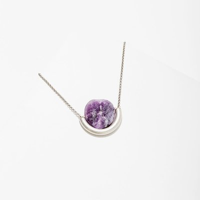 Larissa Loden Amethyst Sun and Moon Silver Necklace