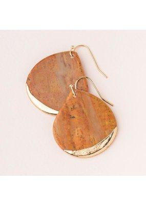 Scout Petrified Wood Gold Dipped Teardrop Earring