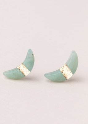 Scout Amazonite & gold Crescent Moon Stud