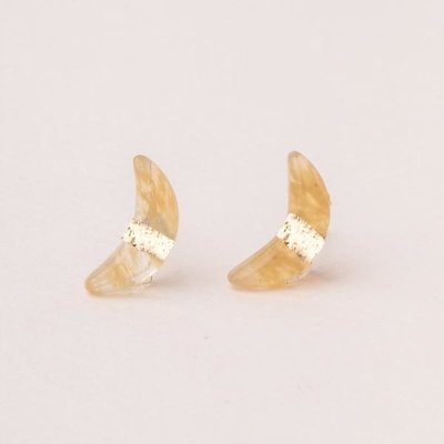 Scout Citrine & Gold Crescent Moon Stud