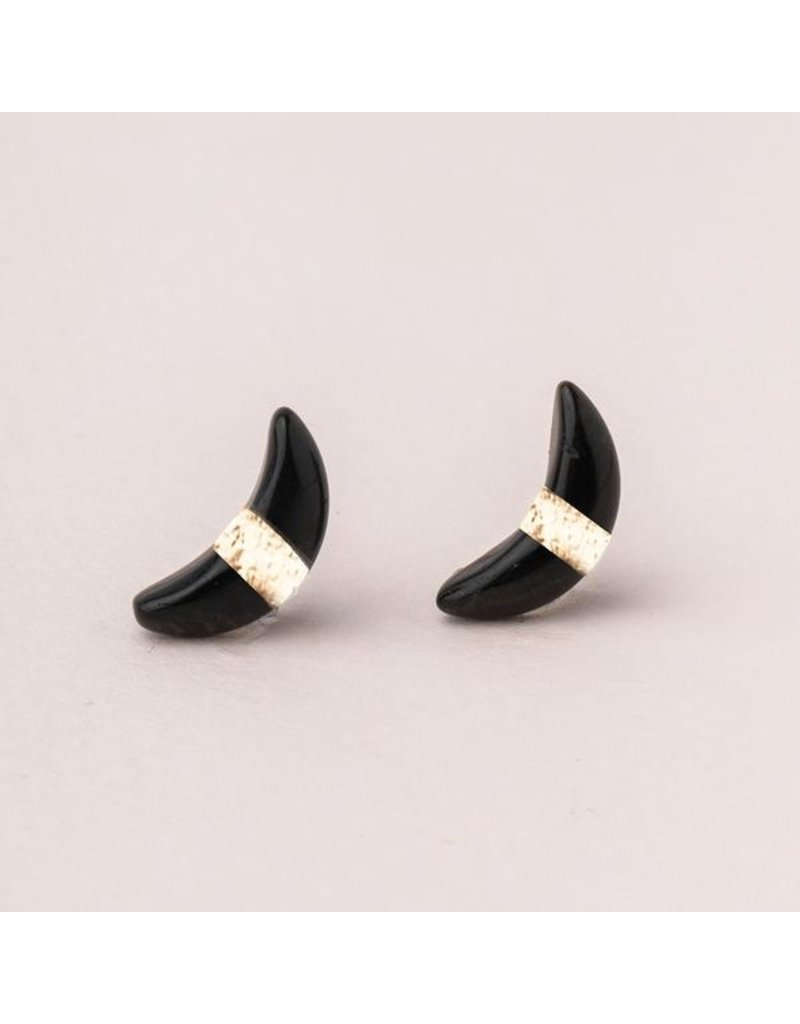 Scout Black Spinel & Gold Crescent Moon Stud