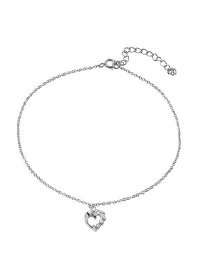 Sterling Silver Cubic ZIrconia Heart Anklet