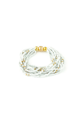 Splendid Iris Grey Beaded Multi Layer Bracelet w Gold Magnetic Closure