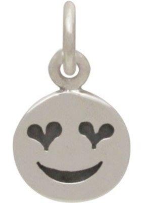 Sterling Silver Heart Eye Emoji Charm