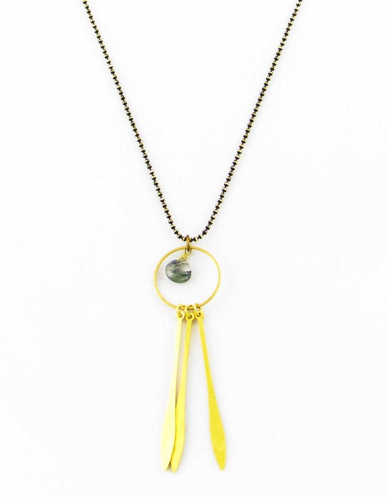 Santoré Brass Dream Catcher Rutilated Quartz Necklace