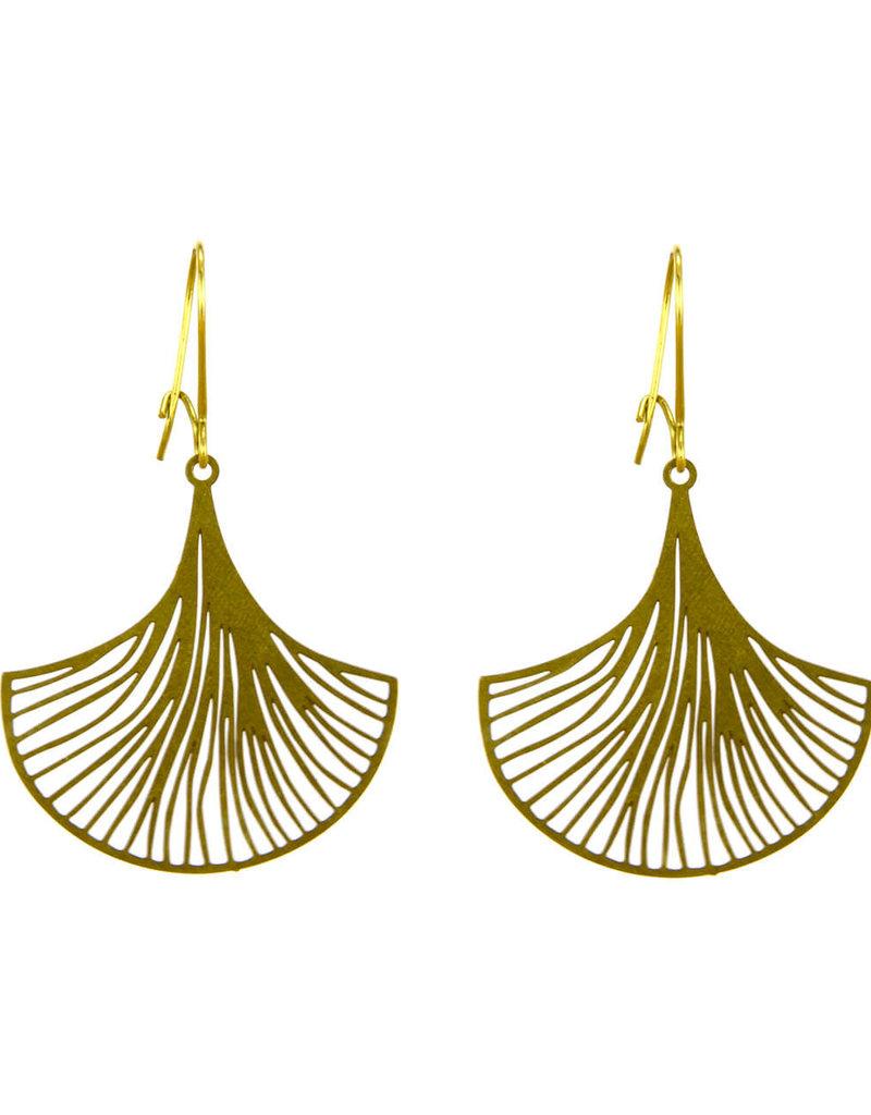 Santoré Brass Ginkgo Fan Earring