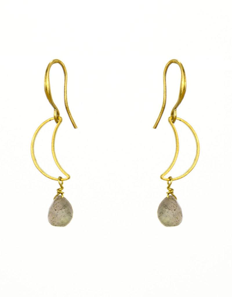 Santoré Brass Crescent w Labradorite Earring