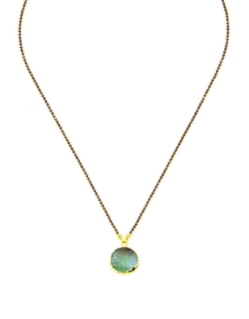 Santoré Brass Chrysophrase  Circle Pendant Necklace