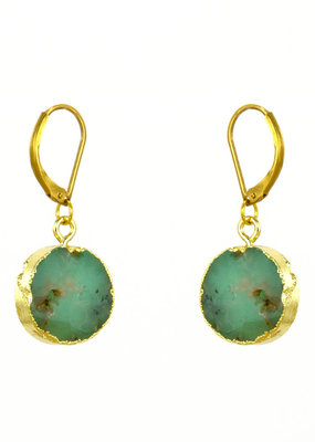 Santoré Brass Chrysophrase  Circle Earrings